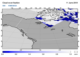 OMI - Cloud cover fraction of 11 June 2019