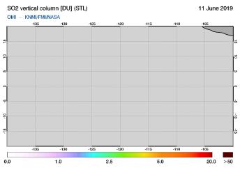 OMI - SO2 vertical column of 11 June 2019
