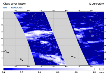 OMI - Cloud cover fraction of 12 June 2019
