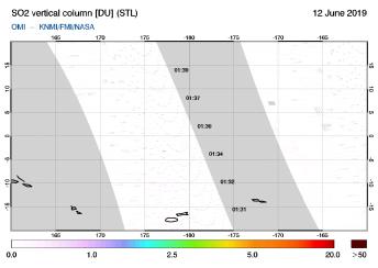 OMI - SO2 vertical column of 12 June 2019
