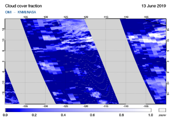 OMI - Cloud cover fraction of 13 June 2019