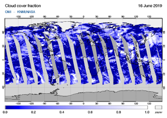 OMI - Cloud cover fraction of 16 June 2019