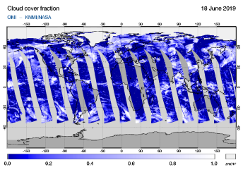 OMI - Cloud cover fraction of 18 June 2019