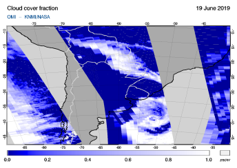 OMI - Cloud cover fraction of 19 June 2019