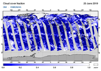 OMI - Cloud cover fraction of 20 June 2019