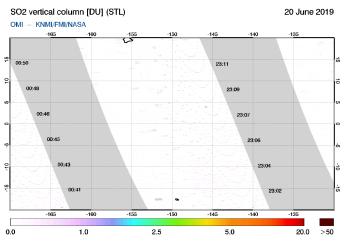OMI - SO2 vertical column of 20 June 2019