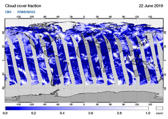 OMI - Cloud cover fraction of 22 June 2019