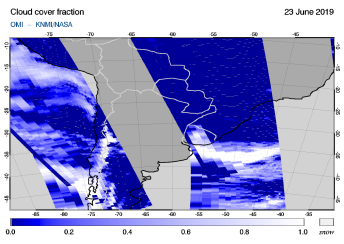 OMI - Cloud cover fraction of 23 June 2019