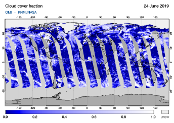 OMI - Cloud cover fraction of 24 June 2019