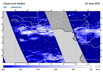 OMI - Cloud cover fraction of 25 June 2019