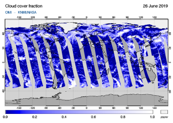 OMI - Cloud cover fraction of 26 June 2019