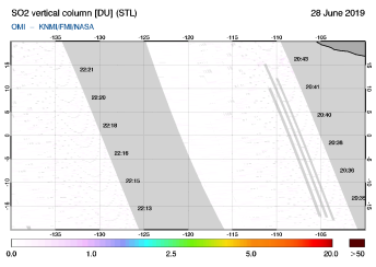 OMI - SO2 vertical column of 28 June 2019