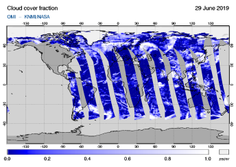 OMI - Cloud cover fraction of 29 June 2019