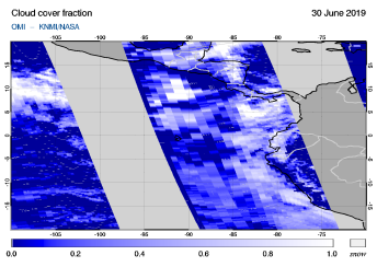 OMI - Cloud cover fraction of 30 June 2019