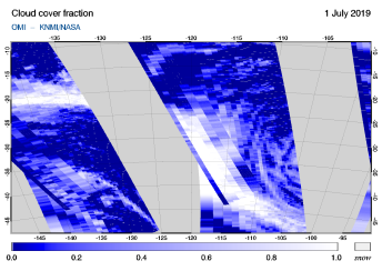 OMI - Cloud cover fraction of 01 July 2019