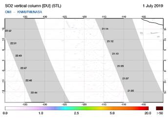 OMI - SO2 vertical column of 01 July 2019