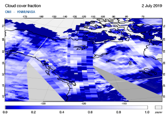 OMI - Cloud cover fraction of 02 July 2019