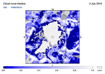 OMI - Cloud cover fraction of 03 July 2019