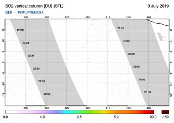 OMI - SO2 vertical column of 03 July 2019