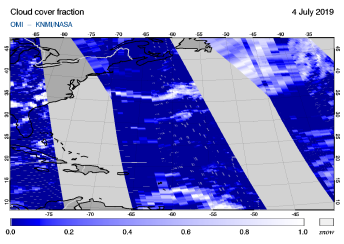 OMI - Cloud cover fraction of 04 July 2019