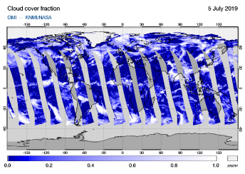 OMI - Cloud cover fraction of 05 July 2019