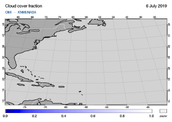 OMI - Cloud cover fraction of 06 July 2019