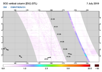 OMI - SO2 vertical column of 07 July 2019