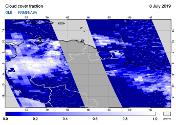 OMI - Cloud cover fraction of 08 July 2019