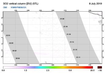 OMI - SO2 vertical column of 08 July 2019