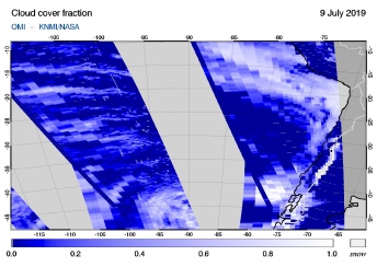 OMI - Cloud cover fraction of 09 July 2019
