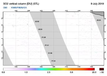 OMI - SO2 vertical column of 09 July 2019