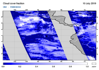 OMI - Cloud cover fraction of 10 July 2019