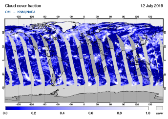 OMI - Cloud cover fraction of 12 July 2019