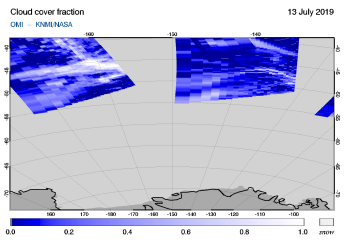 OMI - Cloud cover fraction of 13 July 2019