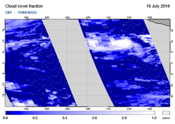 OMI - Cloud cover fraction of 16 July 2019