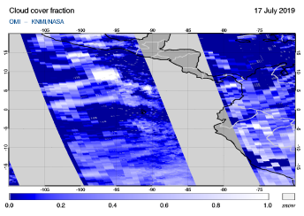 OMI - Cloud cover fraction of 17 July 2019
