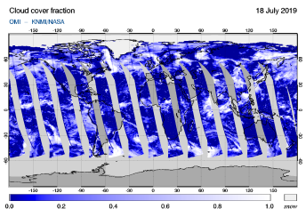 OMI - Cloud cover fraction of 18 July 2019