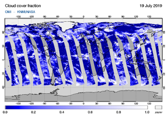 OMI - Cloud cover fraction of 19 July 2019