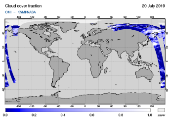 OMI - Cloud cover fraction of 20 July 2019