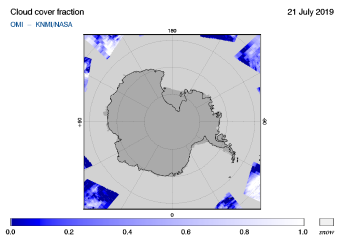 OMI - Cloud cover fraction of 21 July 2019