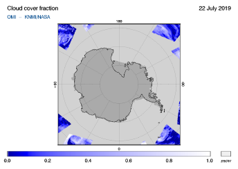 OMI - Cloud cover fraction of 22 July 2019