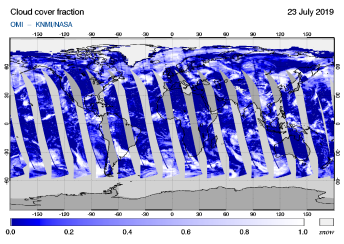 OMI - Cloud cover fraction of 23 July 2019
