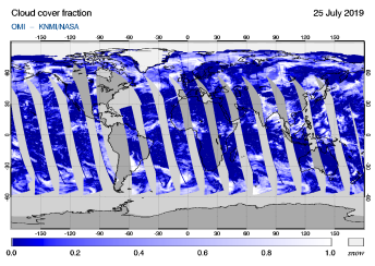 OMI - Cloud cover fraction of 25 July 2019
