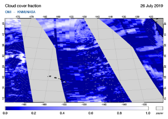 OMI - Cloud cover fraction of 26 July 2019