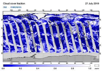 OMI - Cloud cover fraction of 27 July 2019