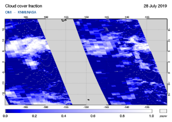 OMI - Cloud cover fraction of 28 July 2019