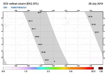 OMI - SO2 vertical column of 28 July 2019