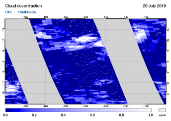 OMI - Cloud cover fraction of 29 July 2019