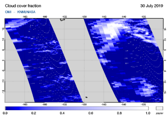 OMI - Cloud cover fraction of 30 July 2019