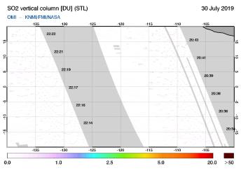 OMI - SO2 vertical column of 30 July 2019
